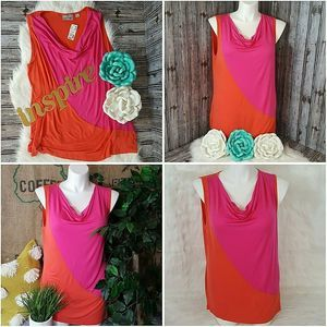 Avenue Top Sleeveless Orange Pink Color Block